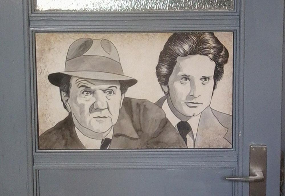 Doppelportrait auf Zimmertür