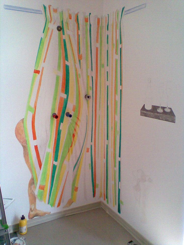Wandbild Im Bad im Entstehungsprozess