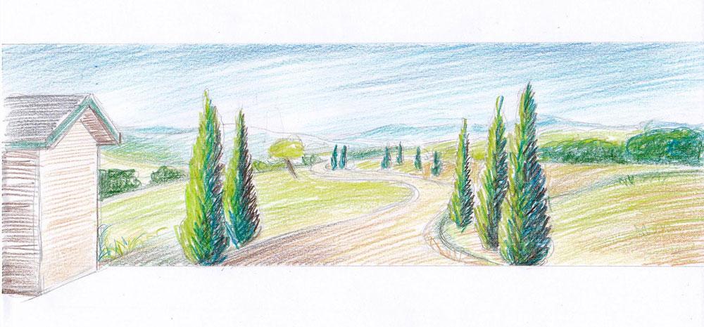 Entwurf für Wandbild Im Garten